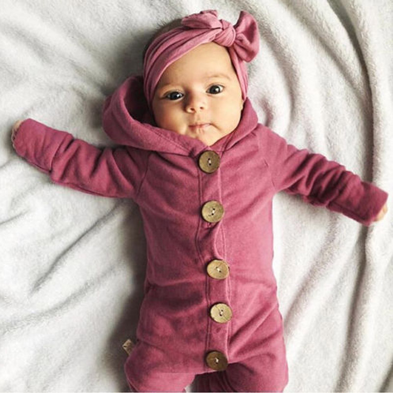 Winter Infant <font><b>Baby</b></font> Boy Girl Cotton Hooded <font><b>Romper</b></font> Jumpsuit Clothes Outfit For 0-24Months Kids image