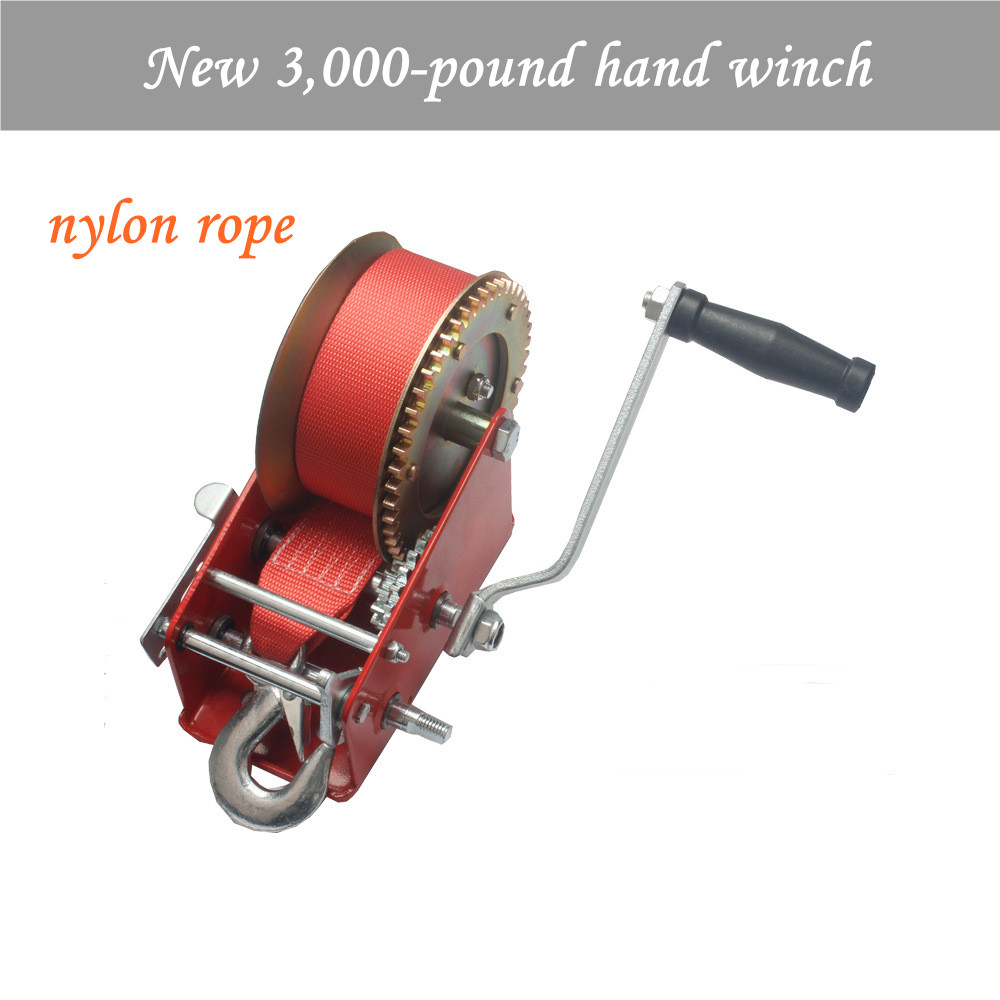 New 3,000-pound Hand Winch Spray-moulded Red Coloured Galvanized Nylon Rope Winch