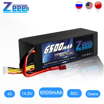 Zeee RC Lipo Battery 14.8V 4S 6500mAh RC Battery Lipo 80C RC Battery with Deans Plug For RC Car Boat Truck Airplane UAV RACING цена 2017