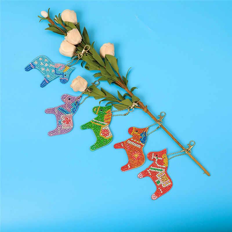 5Pcs DIY צעצוע צבעוני סוס KeyRing 5D יהלומי ציור מפתח שרשרת תליון מתנה חינוכיים צעצוע עבודת יד צעצוע עבור ילדים