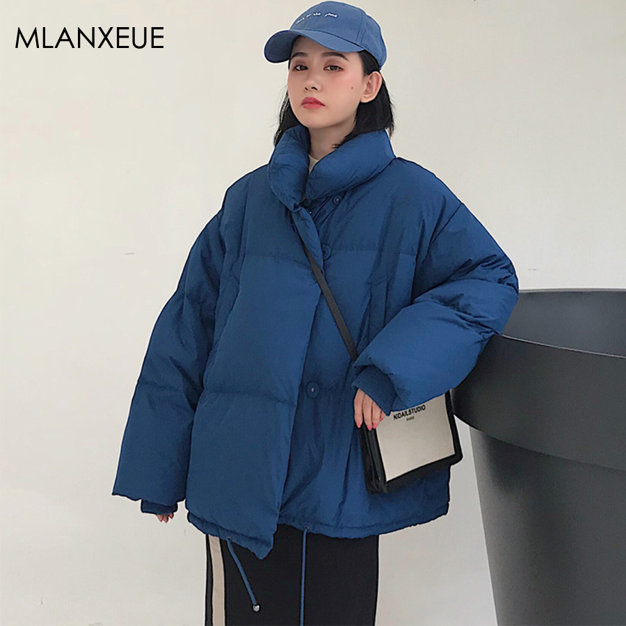 Solid Standing Collar Down Coats Women Winter Long Sleeve No Hooded Cotton Parka Coat Jackets Female Korean Loose Simple Outwear