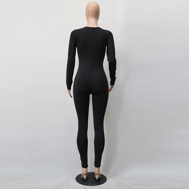 Sexy White O Neck New Bodycon Jumpsuit Long Women 2020 Fashion Pants Color New long sleeve Red Solid Black Wine Jumpsuits Romper 2