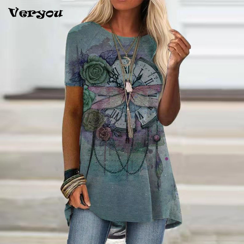 2021 Summer Shirt Women Dragonfly Print T-shirt For Women Vintage O Neck Short Sleeve Top Ladies Casual Pullovers Female TShirt