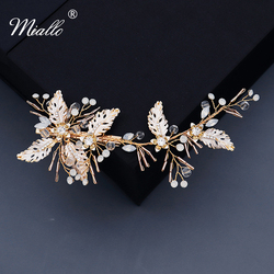Miallo artesanal folha grampos de cabelo para as mulheres acessórios cristal ouro cor pinos de cabelo ornamentos luxo jóias baile presentes