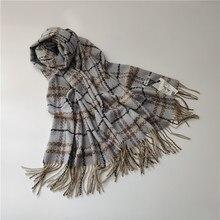 цена на Plaid Spot British Style Cashmere Scarf Female Autumn and Winter Style Warm Mid-long Scarf fringed shawl 2019