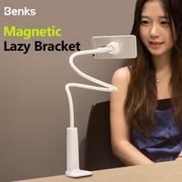 Benks Lazy Bracket Flexible 360 Clip Rotation Magnetic Phone Stand For iPhone Samsung Universal Smartphone Holder Desktop Office