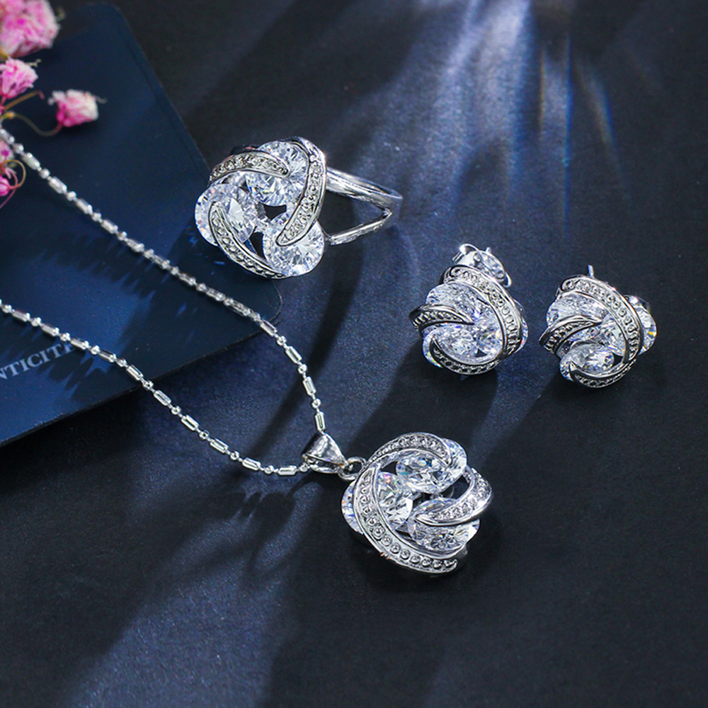 ThreeGraces New Fashion 925 Silver Jewelry Sets Cubic Zirconia Knot Earrings Necklace and Ring Set for Women Dancing Party JS124