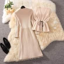 Ensemble 2 pièces pour femmes, gilet en velours de vison à lacets + robe tricotée à manches longues, ensemble décontracté I39, automne hiver 2021