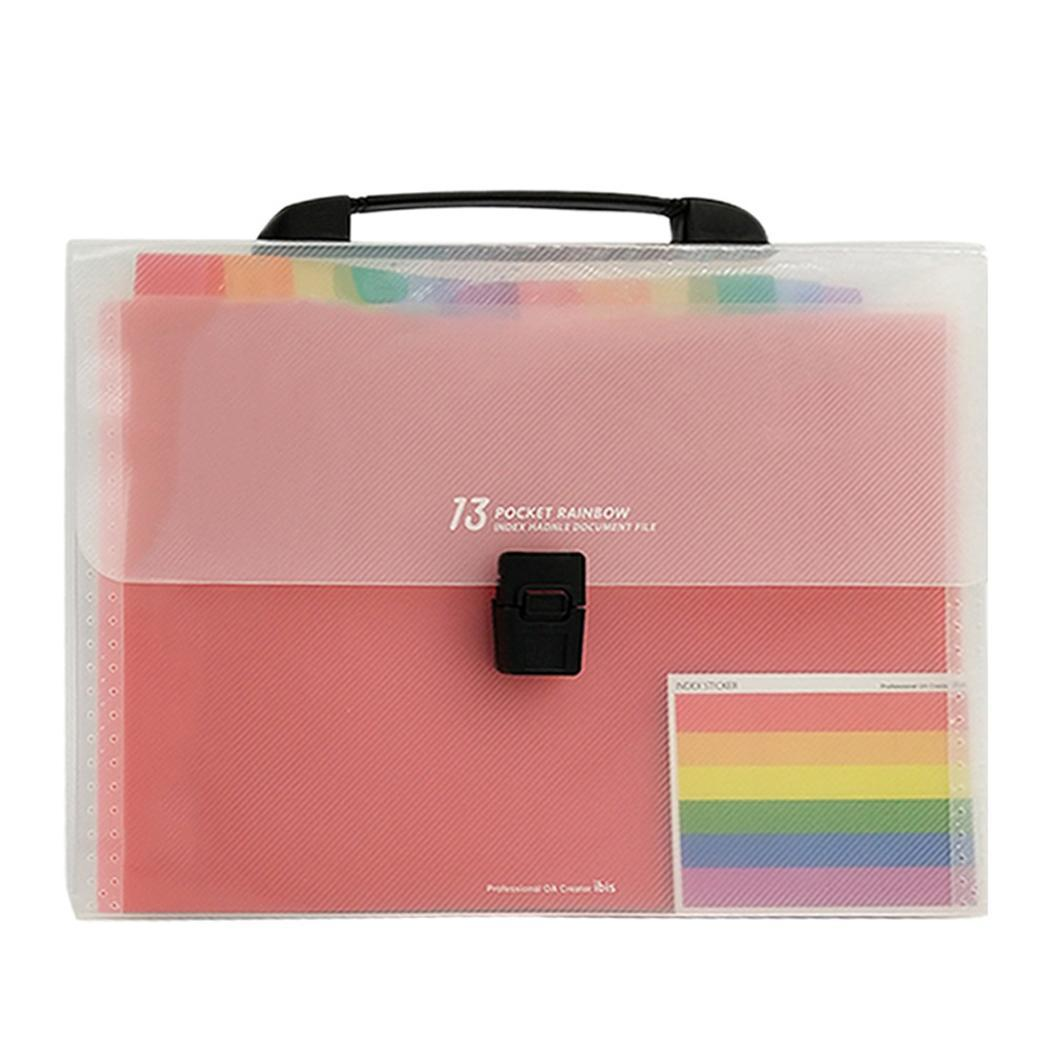 Portable File Folders Paper Organizer Document Bag Holder For Pink 13 Pockets School Solid Office A4
