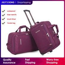 Julysong s canção trole rodas saco de transporte rolando mala saco de viagem à prova dwaterproof água duffle saco com rodas carry on bagagem mala