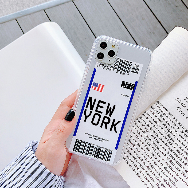H897911ffa0a24bc2a16bc27ad89cc960O - Luxury New York Seoul London Label Bar code cover For iPhone 6 7 8 plus 11 Pro Xs MAX XR X Clear tpu fashion National flag case