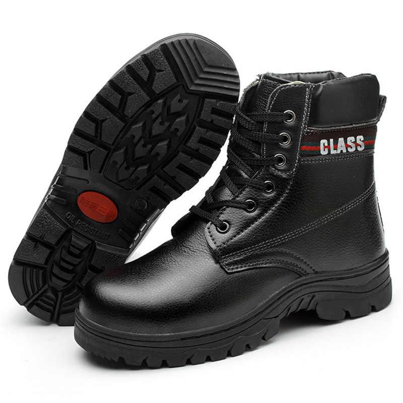 รองเท้าผ้าฝ้ายฤดูหนาวหนัง Cold Steel Toe Caps Anti-smash Anti-slip Anti-slip ป้องกันทำงานรองเท้าความต้านทานการฉีกขาด
