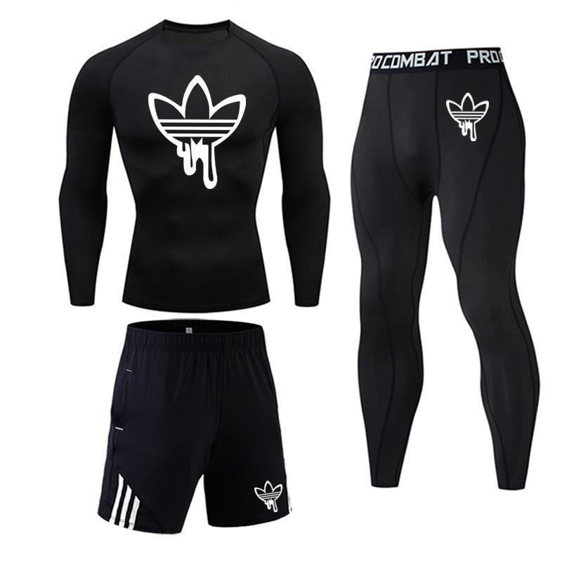 3pc Set MMA Compression T-shirt Tights Men Leggings Fitness 2019 Brand Men Tracksuit Long Sleeve Men Clothing Rashguard Kit 4XL
