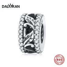 DALARAN 100% 925 Sterling Silver Stopper Beads CZ Clear Leaf Hollow Spacer Charming Fit Original Charm Bracelet Jewelry Making