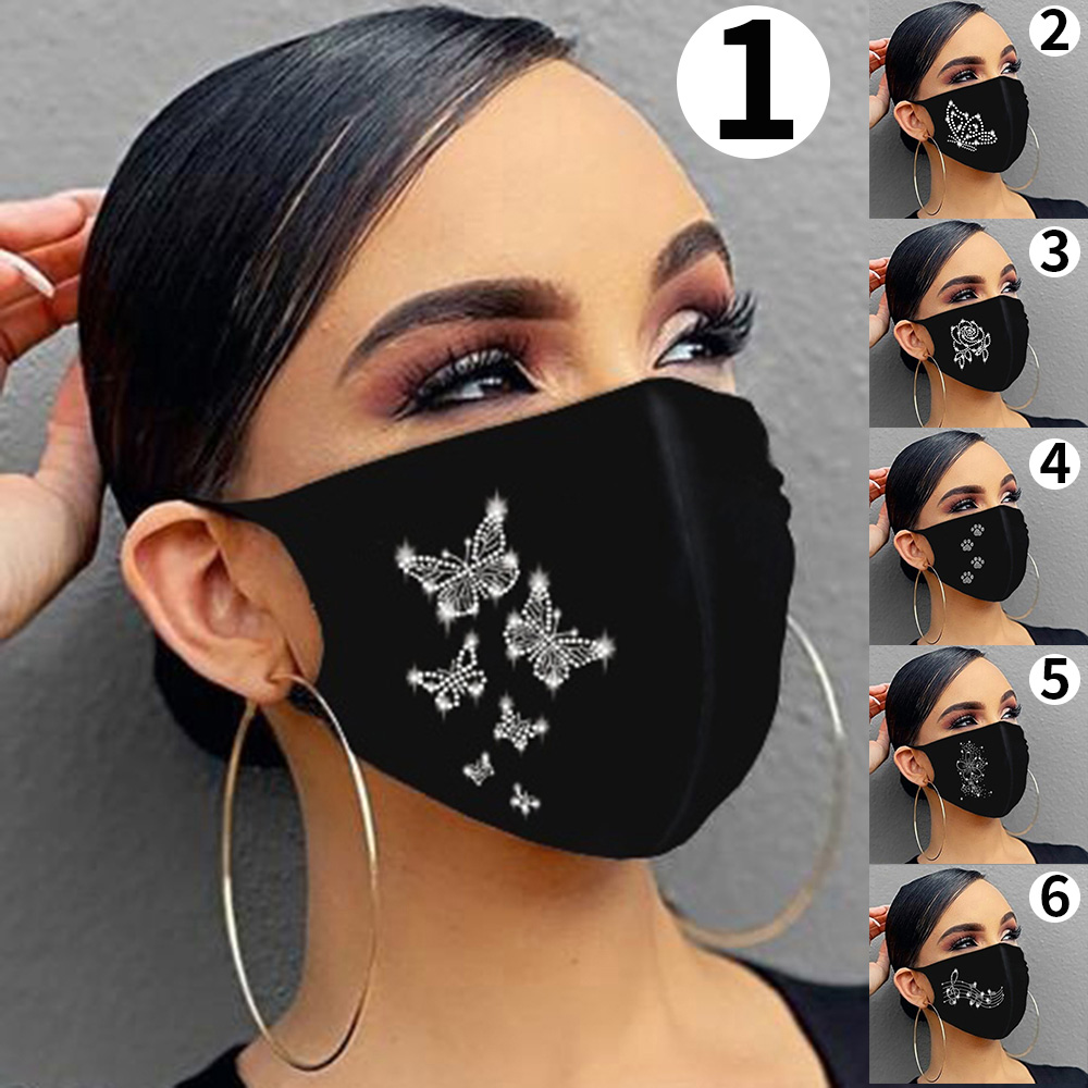 Fast Delivery 1PC Women Reusable Outdoor Christmas Drill Breathable Fashion Cotton Mask Bandage Masque diamond Butterfly pattern 1