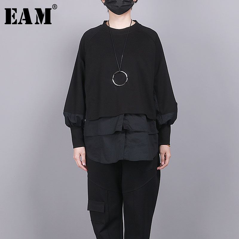 [EAM] Loose Fit Black Split Joint Big Size Sweatshirt New Round Neck Long Sleeve Women Big Size Fashion Tide Spring 2020 1R856