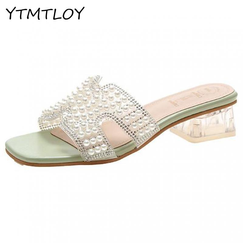 2020 Summer Sandals Women Leisure slippers Fashion Women's Sandals Slides  shoes Square heel Sandalias Gelatina Mujer Clear Middle Heels  - AliExpress