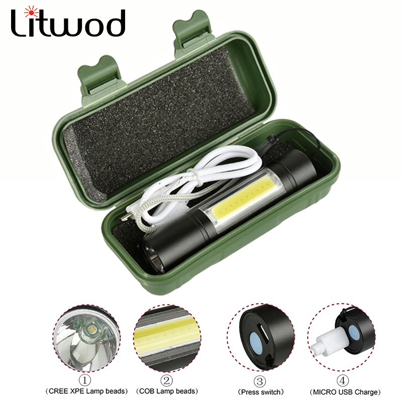 LED Flashlight Micro USB Port Lantern 3 Mode Torch Waterproof Built-in Battery Light For Camping Q5 & COB 2000LM Bulbs 2000