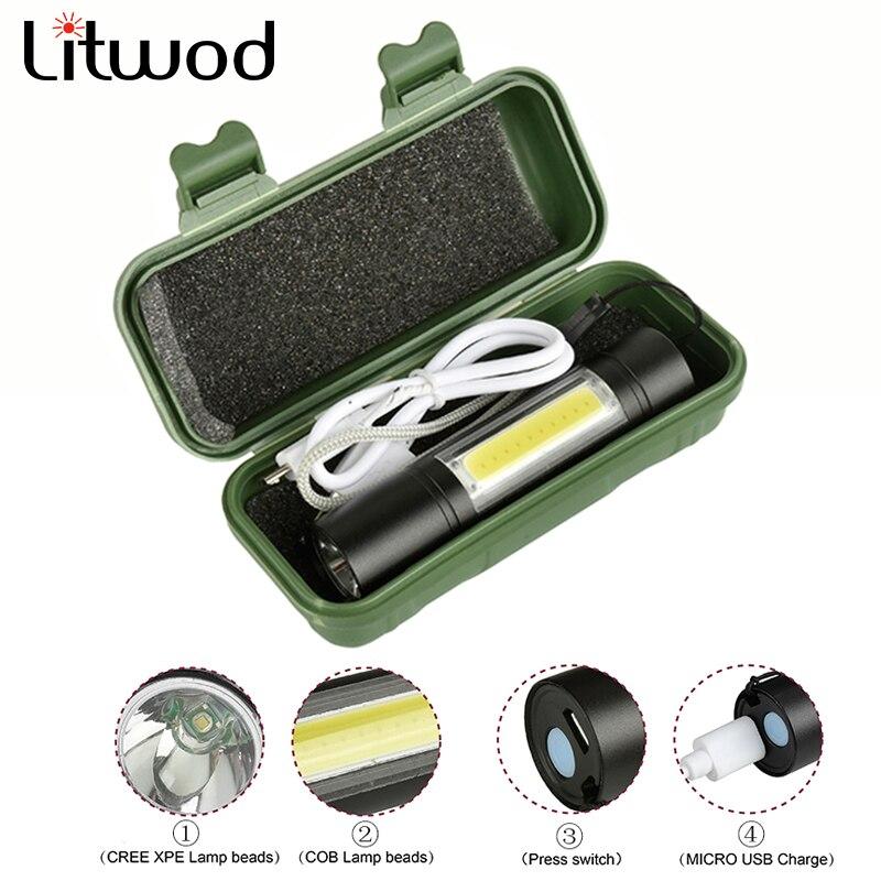 Lampe de poche LED Micro USB Rechargeable lanterne 3 Mode torche étanche intégré batterie lumière pour Camping Q5 & COB 2000LM ampoules