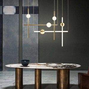 Image 4 - Postmodernistyczny artystyczny Design złota dioda wisiorek światła kreatywny długi kij nocna szlachetny salon Hotel Hall wisząca lampa oprawy