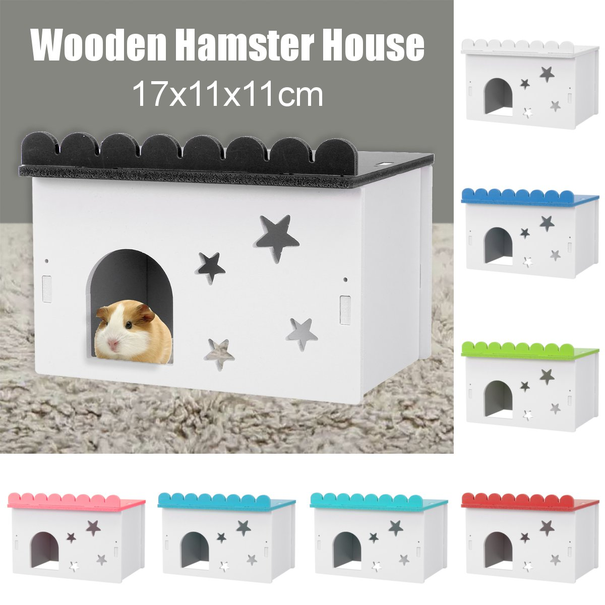 Mini Wooden Hamster House Small Animal Flat Top Rat Cabin Pet Mice Hideout Cage Castle Hedgehogs Nest Toys Pet Accessories