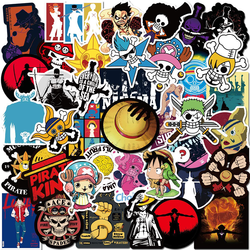 50PCS Classic ONE PIECE Cartoon DIY Stickers For Skateboard Fridge Phone Guitar Motorcycle Luggage Waterproof Cool Joke Stickers