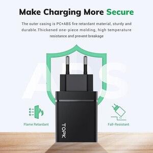 Image 5 - TOPK 36W Quick Charge 3.0 caricatore USB PD caricatore USB C caricabatterie rapido US UK adattatore spina ue per iPhone 11 Xiaomi Samsung