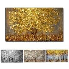 Cuchillo pintado a mano sin marco, pintura al óleo de árbol de oro sobre lienzo, paleta grande de pinturas 3D para sala de estar, arte de pared abstracto moderno