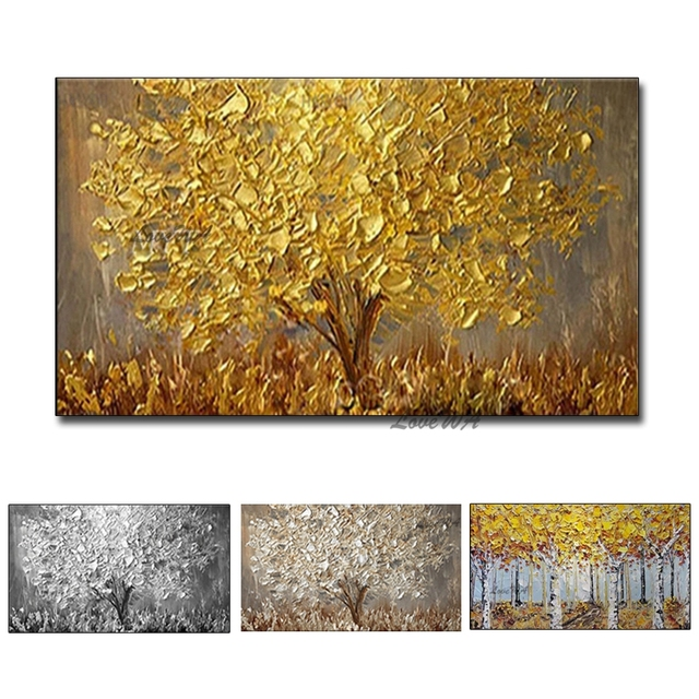 Unframed Hand Painted Knife Gold Tree Oil Painting On Canvas Large Palette 3D Paintings For Living Room Modern Abstract Wall Art