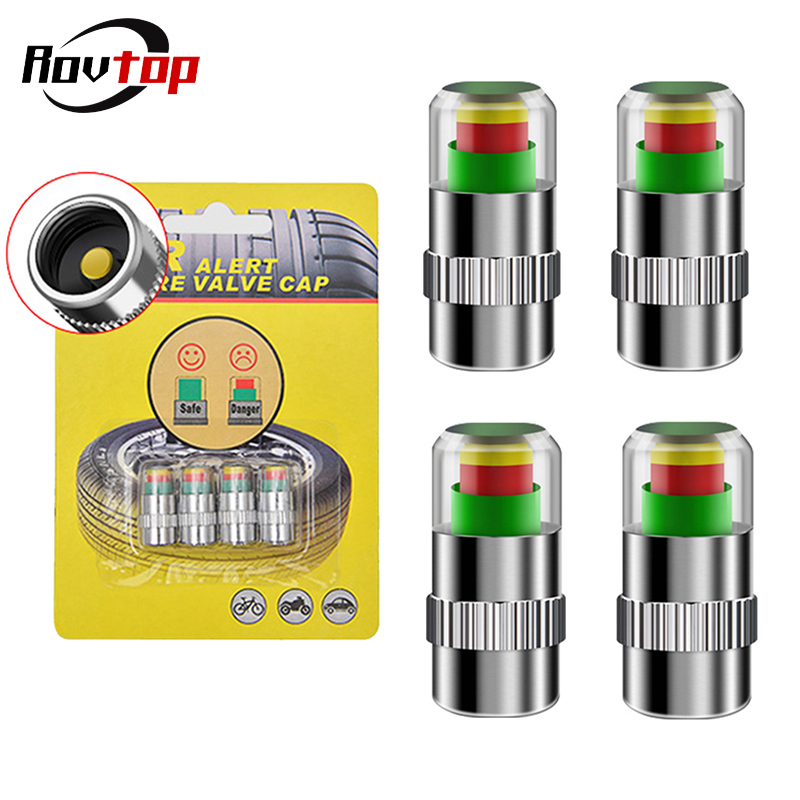 Valve-Cap Cup-Sensor-Indicator Pressure-Tools Monitoring-Tire Eye-Alert 4pcs Z35 3-Color title=