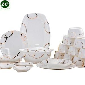 Image 1 - 46 peças conjunto de louça jingdezhen louça cerâmica avowedly china pratos pratos tigelas