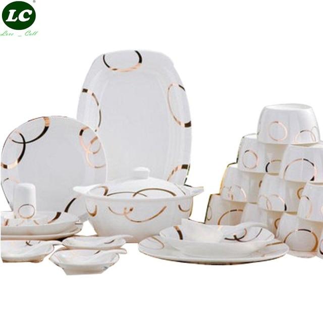 46 stücke Geschirr Set Jingdezhen Keramik Geschirr Erklärtermaßen China Geschirr Gerichte Platten Schalen