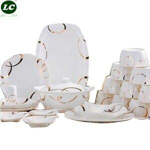 Image 1 - Набор посуды из 46 предметов, керамическая посуда Цзиндэчжэнь, посуда из Китая, тарелки, миски