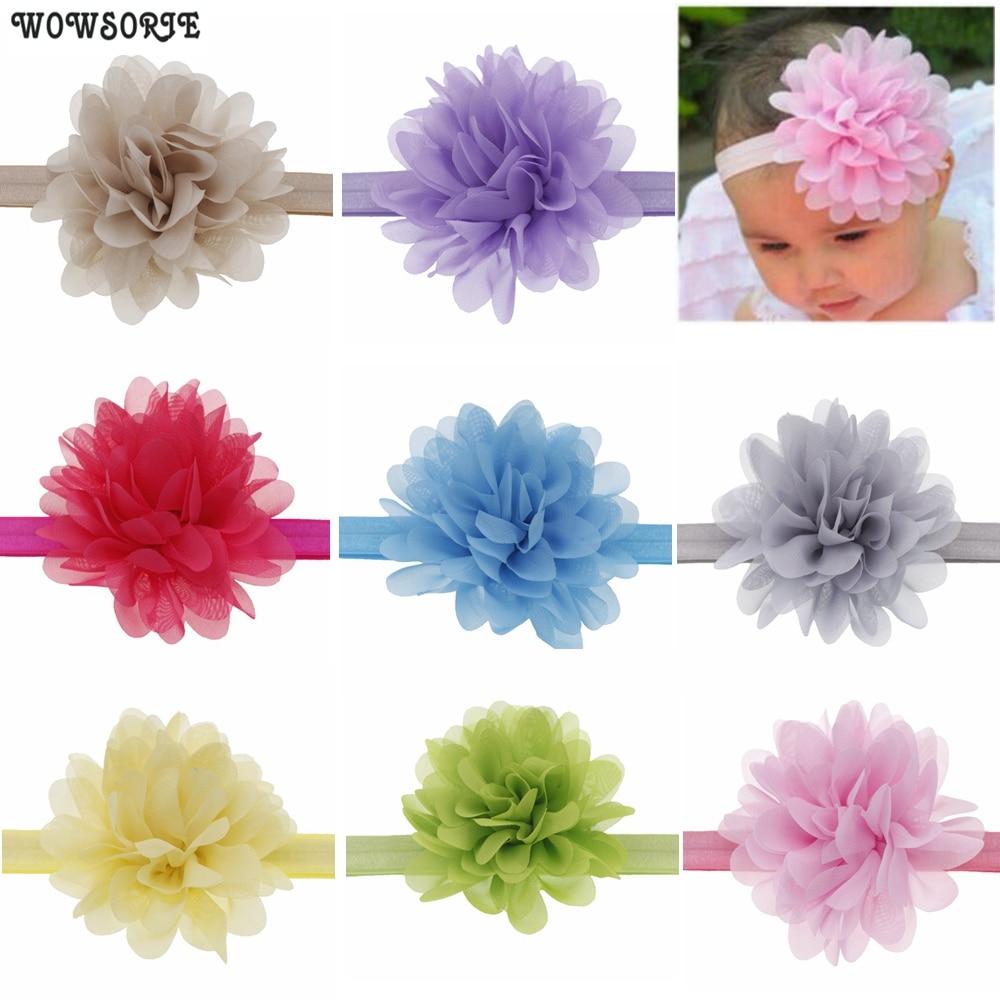 10cm Baby Headband Chiffon Flowers Elastic Hair Band  Boutique DIY Flower Baby Girls Headwear Children Hair Accessories