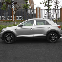 Car Styling For Volkswagen TROC T-Roc 2018 2019 2020 Stainless Steel Window Center Pillars B + C Pillar Cover Trims
