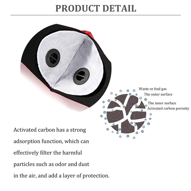 Activated Carbon Filter Masks Double Air Valve Reusable Cycling Face Mask PM2.5 Anti-fog Windproof Prevent Flu Masks 1