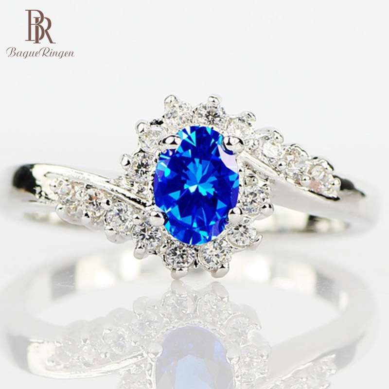 Bague Ringen 925 Sterling Silver Rings for Women with Oval shape blue Sapphire gemstone woman Luxury Fine Jewelry wholesale