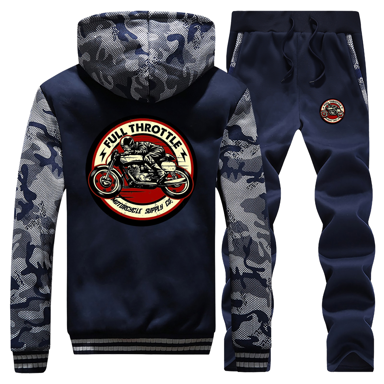 New Winter Full Throttle Cafe Racer Rockabilly Biker Hoodie Mens Streetwear Camouflage Coat Thick Suit+Pants 2 Piece Set Pants