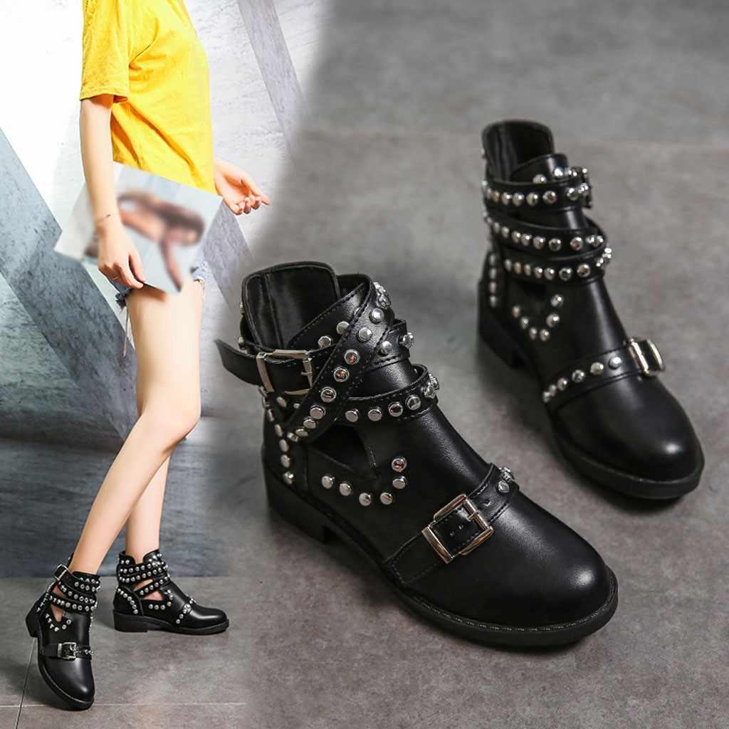 Мотоциклетные ботинки с заклепками в стиле ретро; женские кожаные ботильоны; коллекция 2019 года; готические осенние ботинки martin с пряжкой; короткие ботинки на низком каблуке; ковбойская обувь