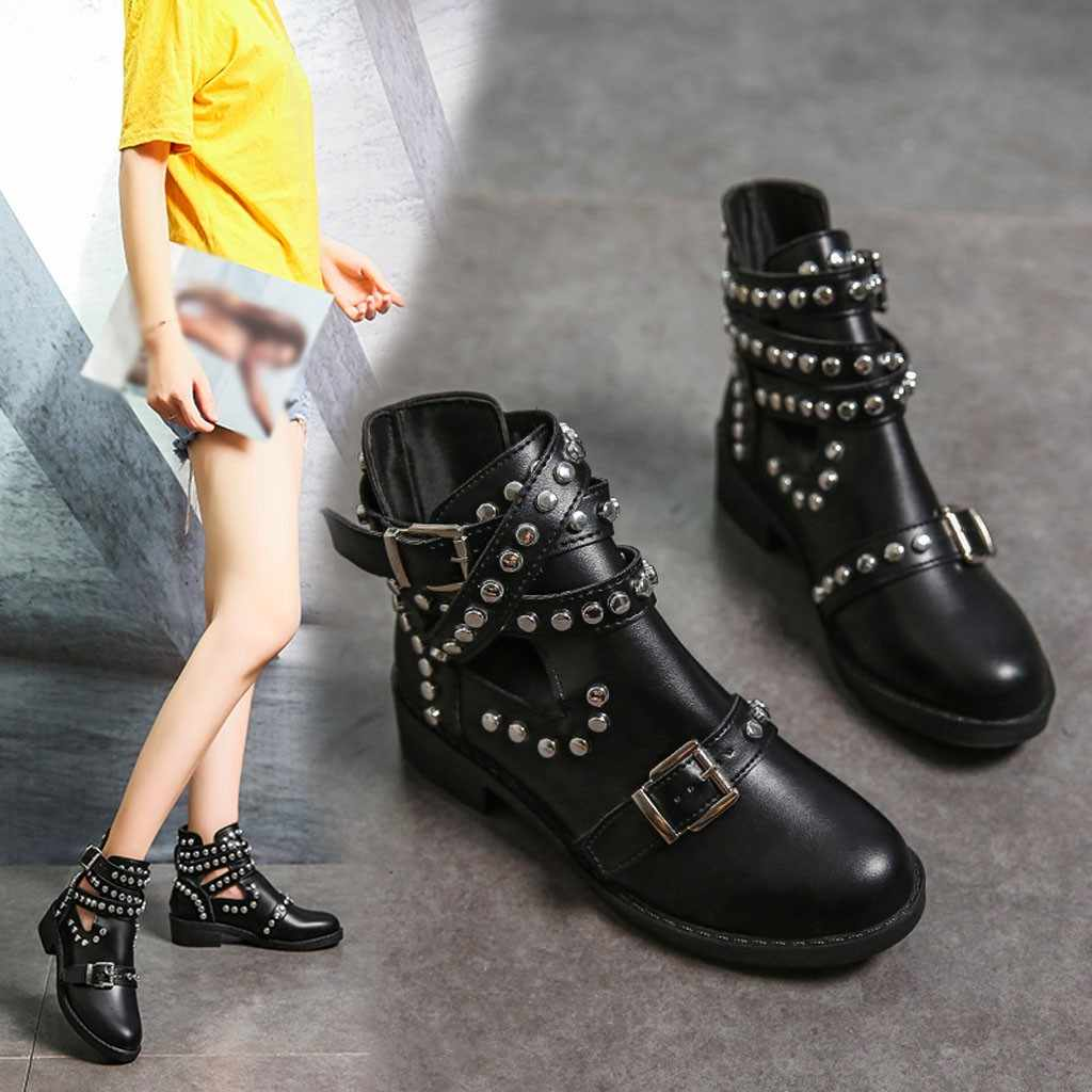 Retro Rivet Motorcycle Boots Women's Leather Ankle Boots 2019 Gothic Autumn Buckle Martin Boot Low Heel Short Boot Cowboy Shoes
