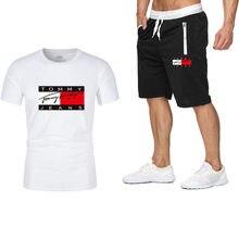 Fashion T-Shirt Shorts Set Men Summer 2pc Tracksuit+Shorts Sets Beach Mens Casual Tee Shirts Set Sportswears S-XXL