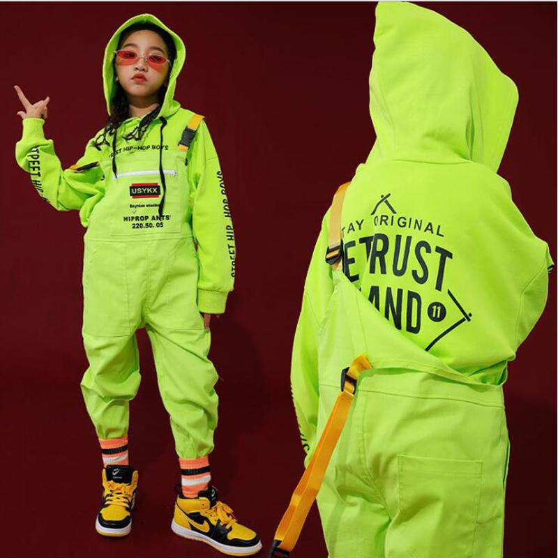 Kids Hip Hop Clothing Green Casual Hoodie Tops Loose Bib Pants For Girls Boys Jazz Dance Costumes Ballroom Dancing Clothes Wear