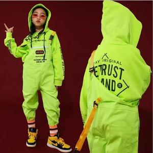 Kids Hip Hop Clothing Green Casual Hoodie Tops Loose Bib Pants for Girls Boys Jazz Dance Costumes Ballroom Dancing Clothes Wear