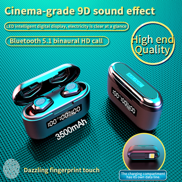 3500Mah Charging Box G40 TWS Bluetooth V5.1 Earphones Mini Wireless Headphones Touch 9D Hifi Stereo Sports Dual Mic Headset Bass
