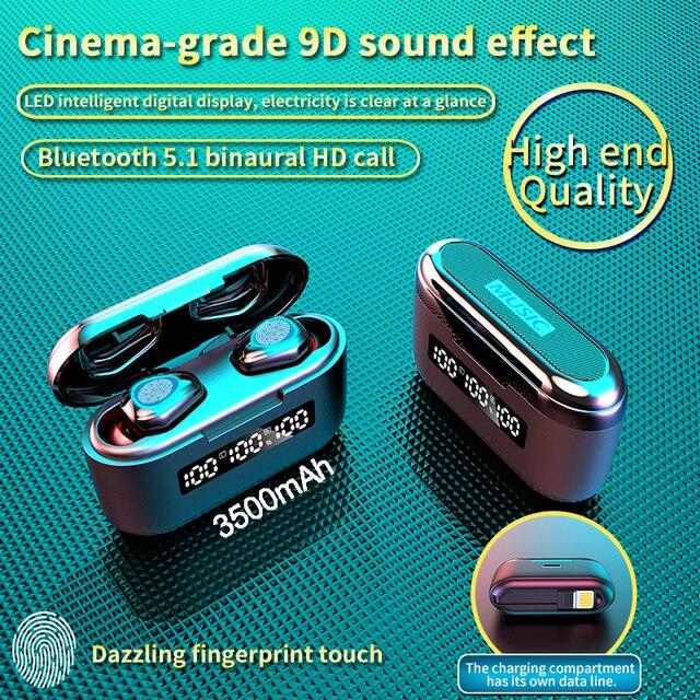 Auriculares TWS G40 con Bluetooth V5.1 y cargador de 3500Mah, Mini auriculares inalámbricos con estéreo Hifi táctil 9D, Auriculares deportivos con micrófono Dual y graves