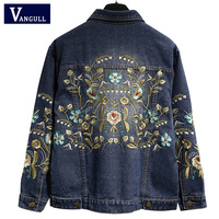 Vangull Plus Size 5XL Embroidered Jacket Floral Denim Coat Long Sleeve Vintage Short 2019 New Fashion Women Jeans Jacket Outwear