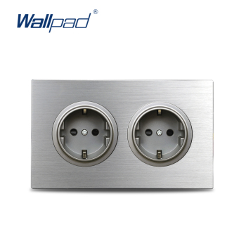 Wallpad Grey 2 Gang Double EU Plug Wall Electric Outlet Socket 146* 86mm Silver Brushed Aluminum Panel Frame - discount item  40% OFF Electrical Equipment & Supplies