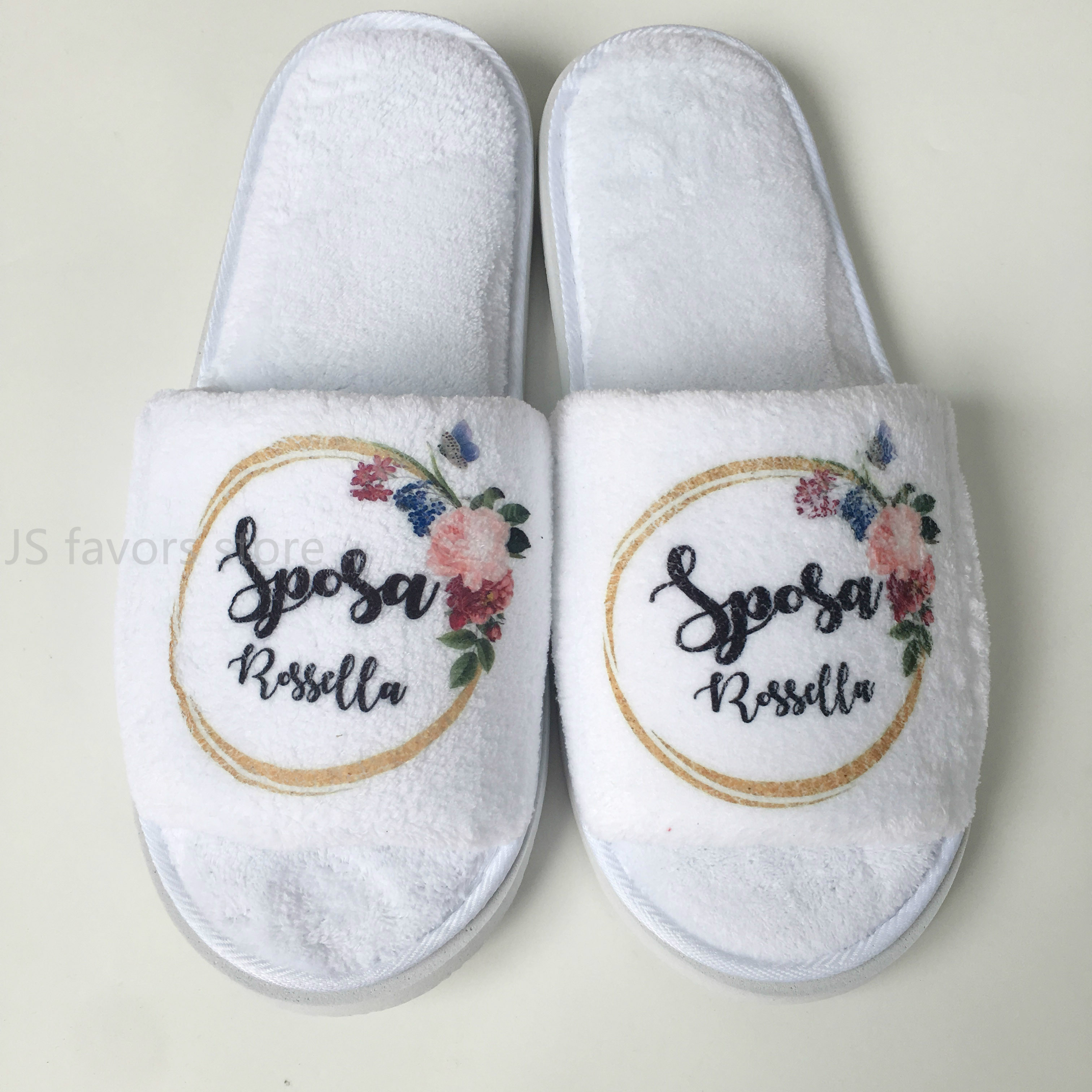 5pairs lot Personalized Wedding Slippers With flower Bride gift Bridesmaid Gifts Custom any language Bachelorette Party Favors