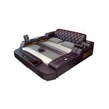 Натуральная кожа каркас кровати мягкие кровати Массажер для хранения безопасный динамик светодиодный светильник для спальни cama muebles de dormitorio/camas quarto