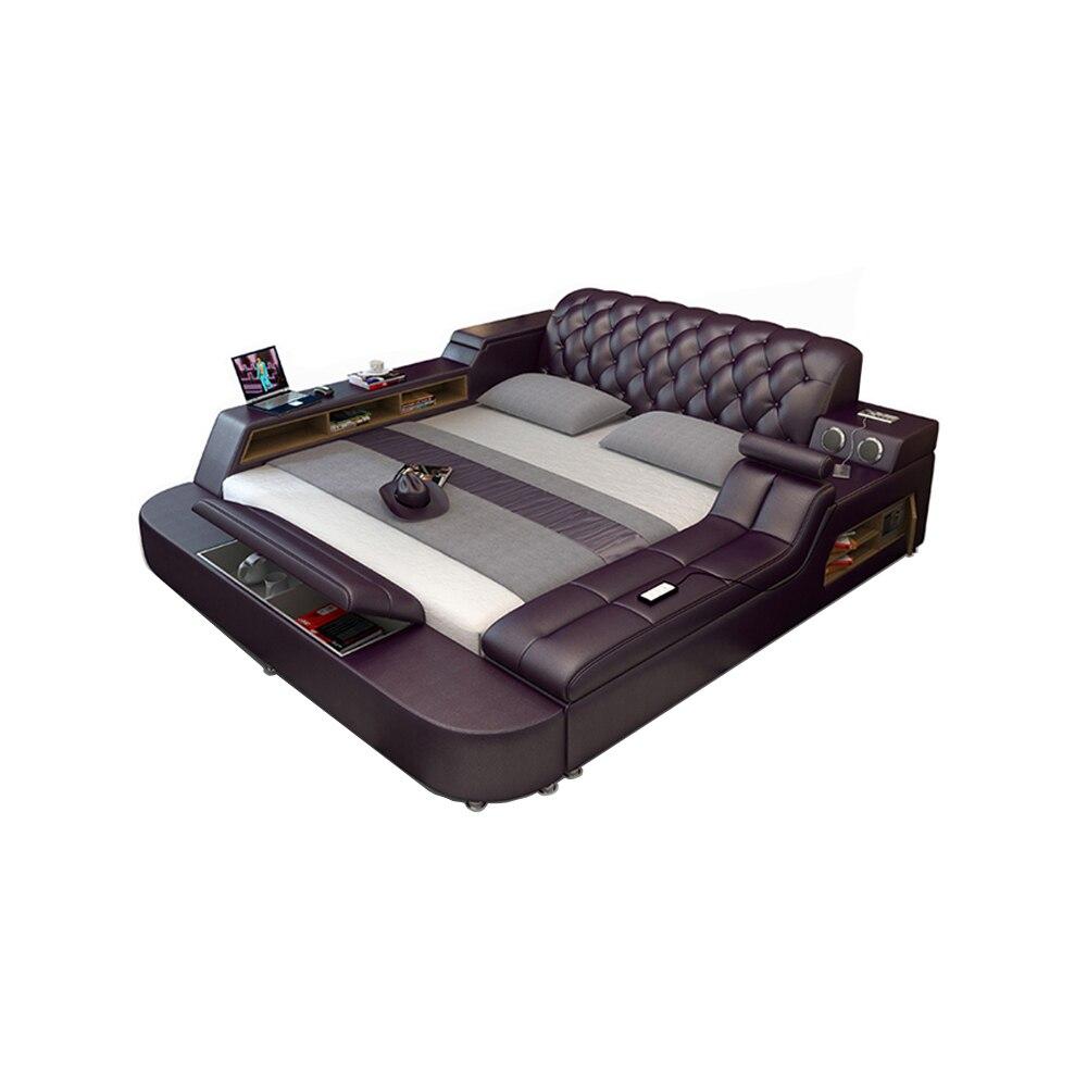 Cadre de lit en cuir véritable lits souples masseur stockage coffre-fort haut-parleur lumière LED chambre à coucher